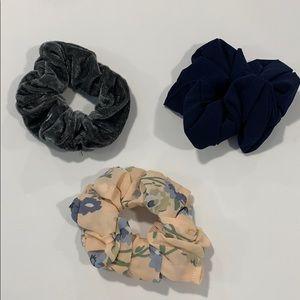 one velvet scrunchie & two scrunchies NWOT